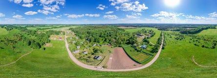 Equirectangularpanorama van Witrussisch platteland stock fotografie
