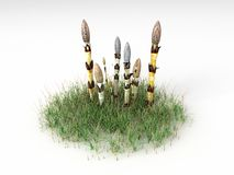 Equisetum arvense. Render illustration of the Different Plants and Grass Stock Photography