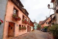 Equisheim-Dorf in Elsass-Landschaft lizenzfreie abbildung