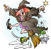 Equitação da bruxa em sua vassoura Imagens de Stock