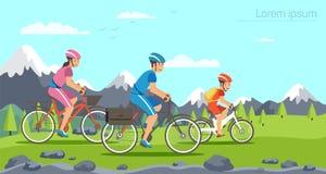 Equitação da família dos desenhos animados em bicicletas Montanhas ilustração stock