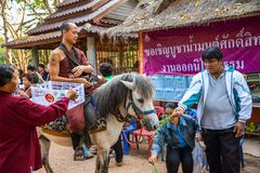 Equitação da monge budista no cavalo para procurar a esmola imagens de stock royalty free