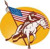 Equitação de cavalo do cowboy do rodeio ilustração stock