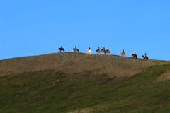 Equitação de cavalo em Islândia Fotografia de Stock