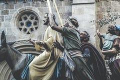 Equitação de Jesus Christ em um asno na semana de domingo de palma easter Típico da Páscoa, a Semana Santa na Espanha A Semana Sa imagens de stock royalty free