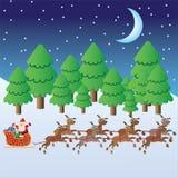 Equitação de Papai Noel no trenó com deers. ilustração stock