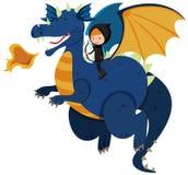 Equitação do caçador no dragão azul Foto de Stock