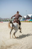 Equitação do cavaleiro do otomano em seu cavalo Imagem de Stock