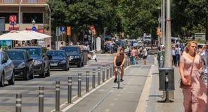 Equitação do ciclista em uma pista da bicicleta em um dia de verão Fotografia de Stock