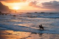 Equitação do homem na praia do por do sol Fotografia de Stock Royalty Free