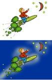 Equitação do menino do foguete dos brócolis Imagem de Stock Royalty Free