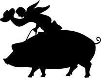 Equitação do porco Fotografia de Stock