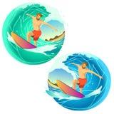 Equitação do surfista em uma placa Fotografia de Stock Royalty Free