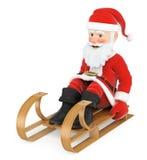 equitação do trenó de 3D Santa Claus Fotografia de Stock Royalty Free