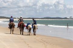 Equitação dos homens na praia Imagem de Stock Royalty Free