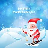 Equitação feliz de Papai Noel no skate na paisagem do inverno para trás ilustração royalty free