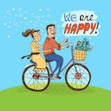 Equitação loving dos pares em uma bicicleta Imagem de Stock