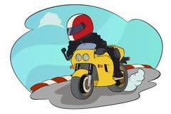 Equitação do motociclista em seu velomotor Foto de Stock