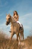 Equitação fêmea nova no cavalo Fotos de Stock