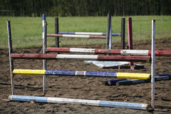 Equitation obstacles and barriers on a training track Stock Image
