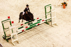Equitation. show jumping, horse and rider over jump Royalty Free Stock Photography