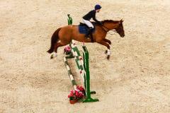 equitation zeigen Sie das Springen, Pferd und Reiter über Sprung Lizenzfreie Stockbilder