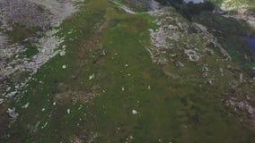 Equitazione nella campagna dell'alta montagna clip Punto di vista superiore della gente a cavallo negli altopiani video d archivio