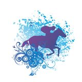 Equitazione, una guida dell'uomo su un cavallo illustrazione vettoriale