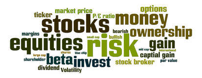 Equities Stocks Risk. Word cloud with stock, equity, risk related words Royalty Free Stock Photos