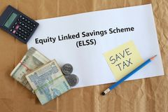 Equity Linked Savings Scheme Indian Investment Concept. Equity linked savings scheme, elss, an Indian tax saving investment option, concept highlighted through stock photo