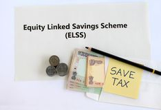 Equity Linked Savings Scheme Investment for Saving Tax Concept. Equity linked savings scheme, elss, an Indian tax saving investment option, concept highlighted stock photography