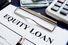 Equity loan application and calculator. royalty free stock photos