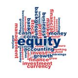 Equity word cloud. Concept on white background, 3d rendering Royalty Free Stock Images