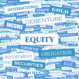 EQUITY. Word cloud illustration. Tag cloud concept collage Stock Photography