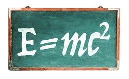 Equivalenza di energia di massa di equazione della teoria della relatività E=mc2 di Einsteinsull'ampia lavagna di legno della v immagini stock libere da diritti