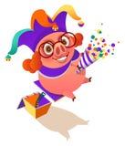 1er avril aileron de surprise de clown de porc de jour d'imbéciles illustration libre de droits