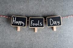 1er avril - jour d'imbéciles Trois étiquettes avec le texte Image libre de droits