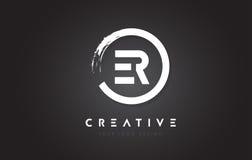 ER Circular Letter Logo with Circle Brush Design and Black Background. royalty free illustration