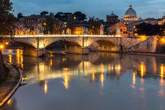 Er cupolone. Nocturne skyline of Rome.Italy Royalty Free Stock Image