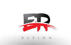 ER E R Brush Logo Letters with Red and Black Swoosh Brush Front Stock Photo