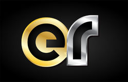 Gold silver letter joint logo icon alphabet design Royalty Free Stock Photo