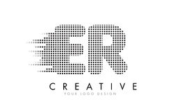 ER E R Letter Logo with Black Dots and Trails. Stock Images