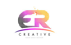 ER E R Letter Logo Design with Magenta Dots and Swoosh Stock Photo