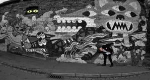 Er is een dier, op:stoken-op-Trent Muurschildering, graffitiart. stock fotografie