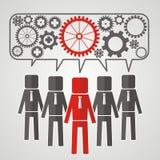 Er geht von fünf Leuten mit Gängen voran Das Konzept der Teamwork E lizenzfreie abbildung