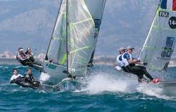 49er grupują żeglowanie podczas regatta w palmy de Mallorca załoga szczególe Obrazy Royalty Free