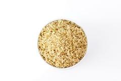 Er hat ein mildes nussartiges Aroma, ist zäher und nahrhafter als weißer Reis Stockbilder