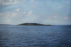 Er Insel im Meer und eine Seemöwe im Himmel Stockfotos