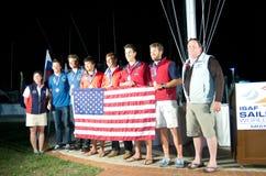 49er médaillés, monde d'ISAF naviguant la tasse Image stock