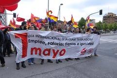 1er mai démonstration à Gijon, Espagne Photos stock